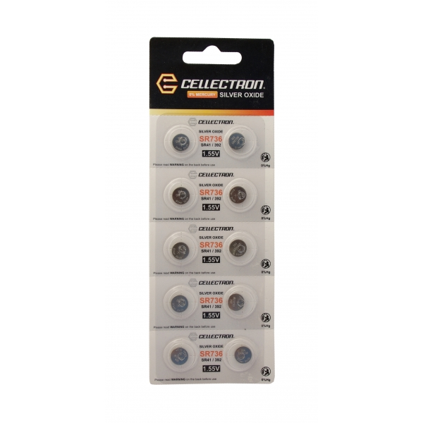 SR736 10 Silberoxid Knopfzelle SR736 / SR41/392 / 1,55V Cellectron