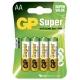 Alkaline Batterie 4 x AA / LR6 - 1,5V - GP Battery