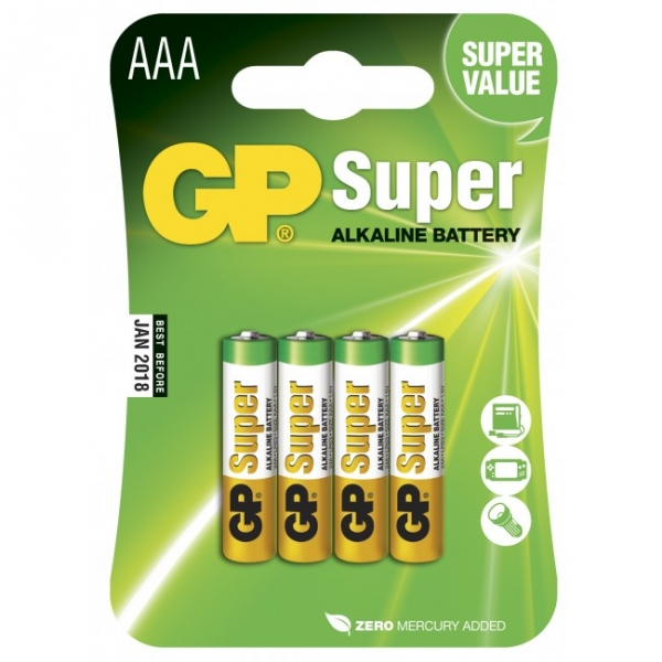Alkaline Batterie 4 x AAA / LR03 - 1,5V - GP Battery