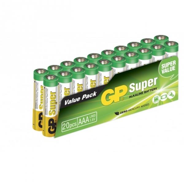 Blockbatterie Alkaline 20 x AAA / LR03 SUPER - 1,5V - GP Battery