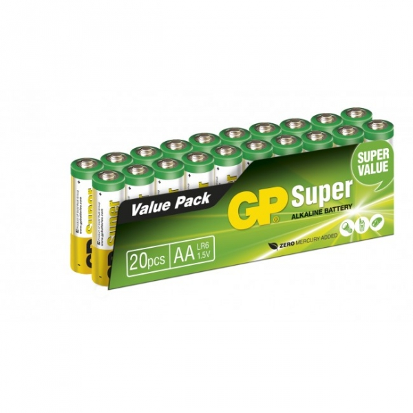 Blockbatterie Alkaline 20 x AA / LR6 SUPER - 1,5V - GP Battery