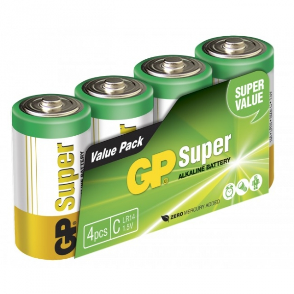 Blockbatterie Alkaline 4 x C / LR14 SUPER - 1,5V - GP Battery