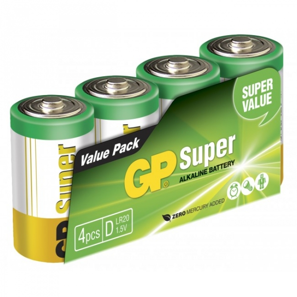Blockbatterie Alkaline 4 x D / LR20 SUPER - 1,5V - GP Battery