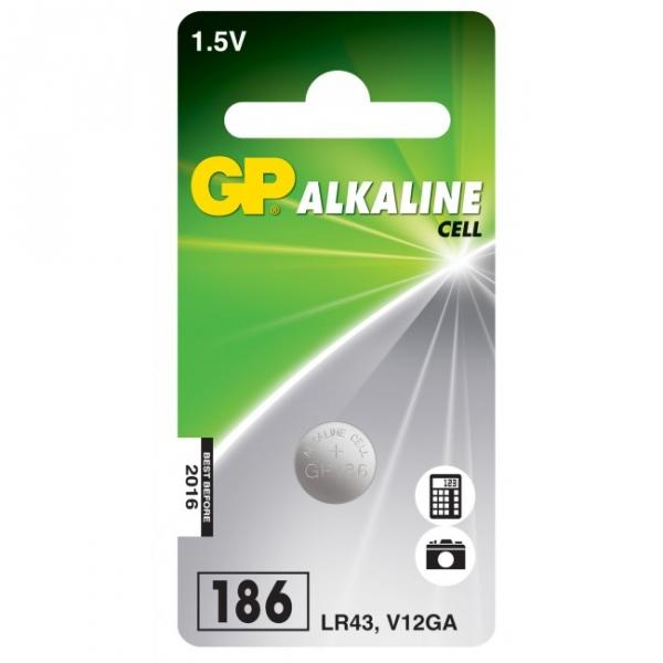 Alkaline Knopfzelle 1 x GP 186 / LR43 / V12GA - 1,5V - GP Battery