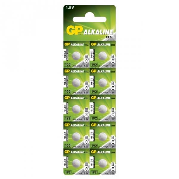 Alkaline Knopfzelle 10 x GP 192 / LR41 / V3GA / - 1,5V - GP Battery